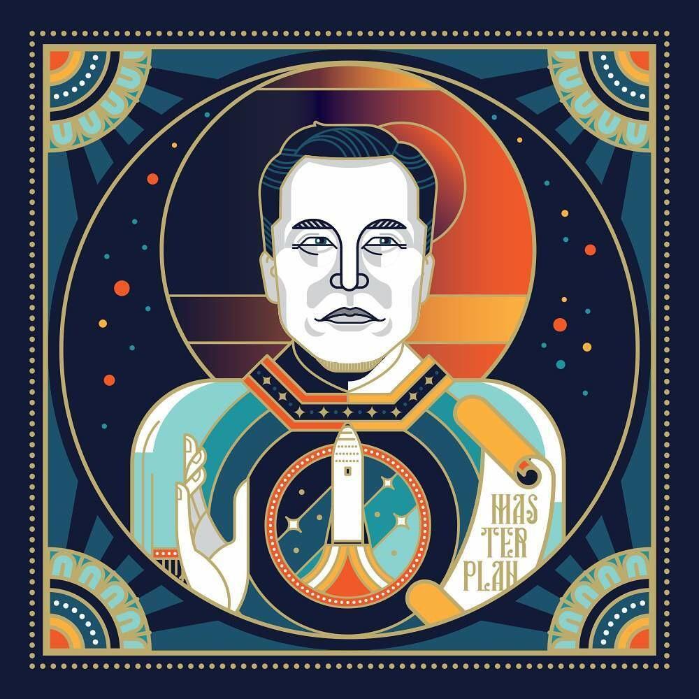 Elon Musk, digital, 1000x1000 px : Art