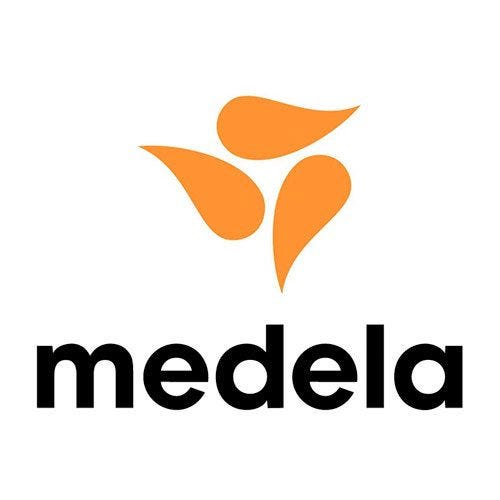 A logo for medela: there are three yellow/orange-ish drops grouped together to form what looks like a pinwheel, and below that the word medela is typed out in lowercase black font.