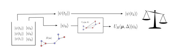 A visual representation of one execution of the QGRNN for one piece of quantum data.