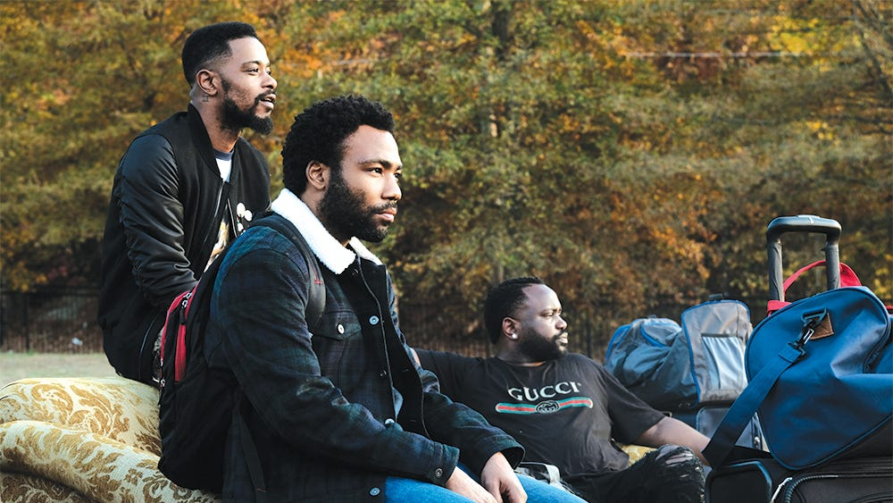 "ATLANTA Robbin' Season -- ""Crabs in a Barrel"" -- Season Two, Episode 11 (Airs Thursday, May 10, 10:00 p.m. e/p) Pictured (l-r): Lakeith Stanfield as Darius, Donald Glover as Earnest Marks, Brian Tyree Henry as Alfred Miles. CR: Guy D'Alema/FX"
