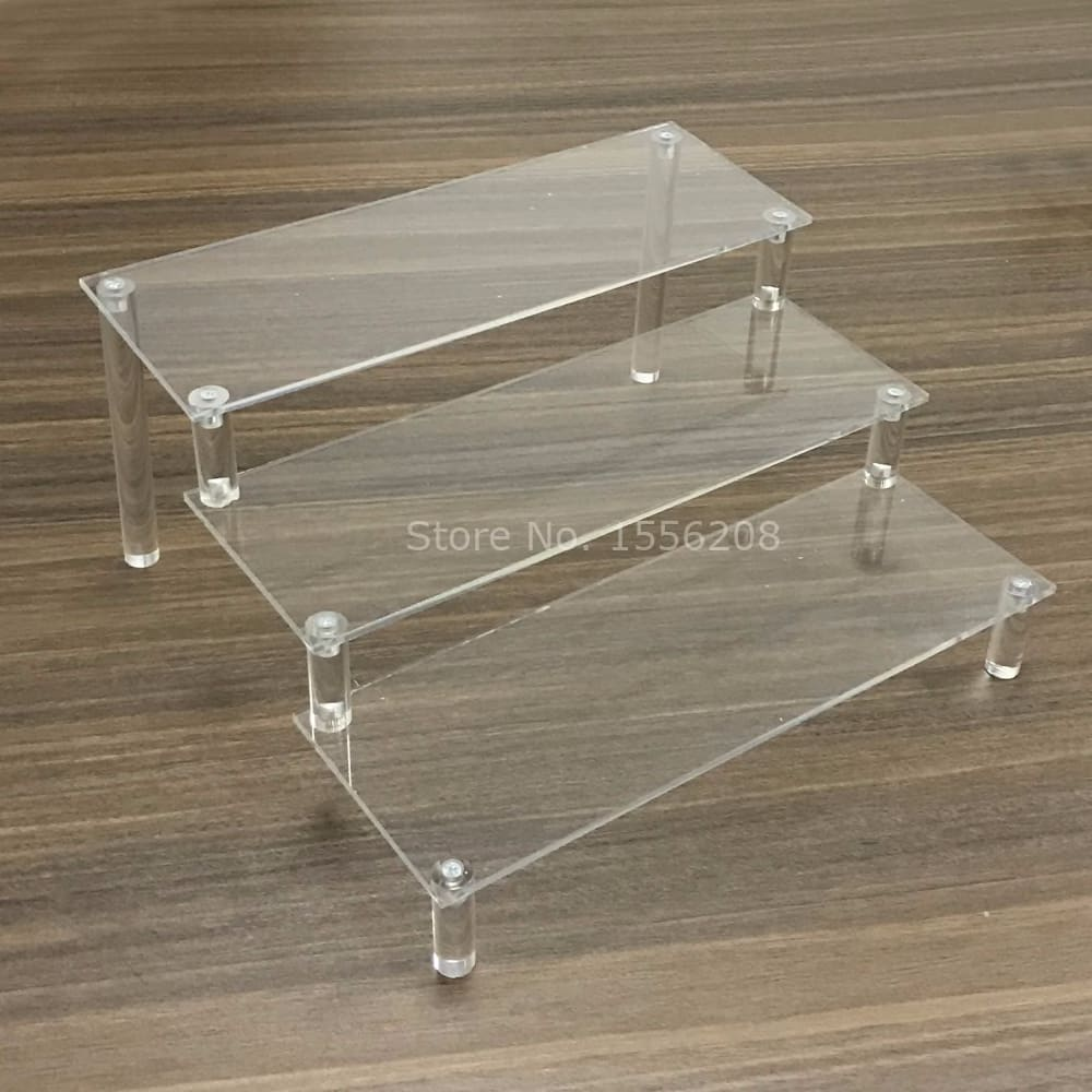 3 Tier Acrylic Rectangle Cupcake Stand Dessert Display Step Rack Wedding Party Decoration 105mm Width Each Layer