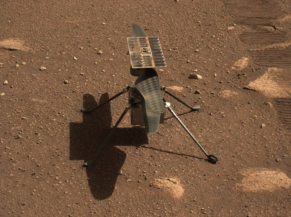 Nasa's Ingenuity Mars helicopter is seen here in a close-up taken by Mastcam-Z, on 5 April 2021