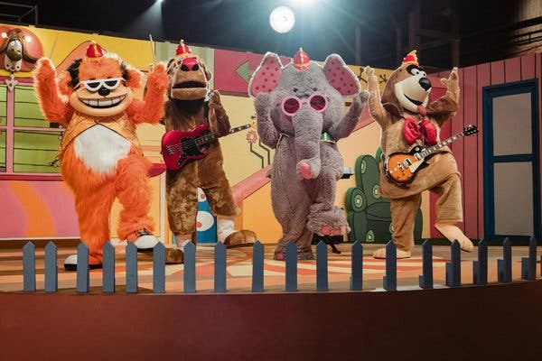 "From left, Bingo, Drooper, Snorky and Fleegle (all voiced by Eric Bauza) in the new ""Banana Splits Movie,"" before things get heavy."