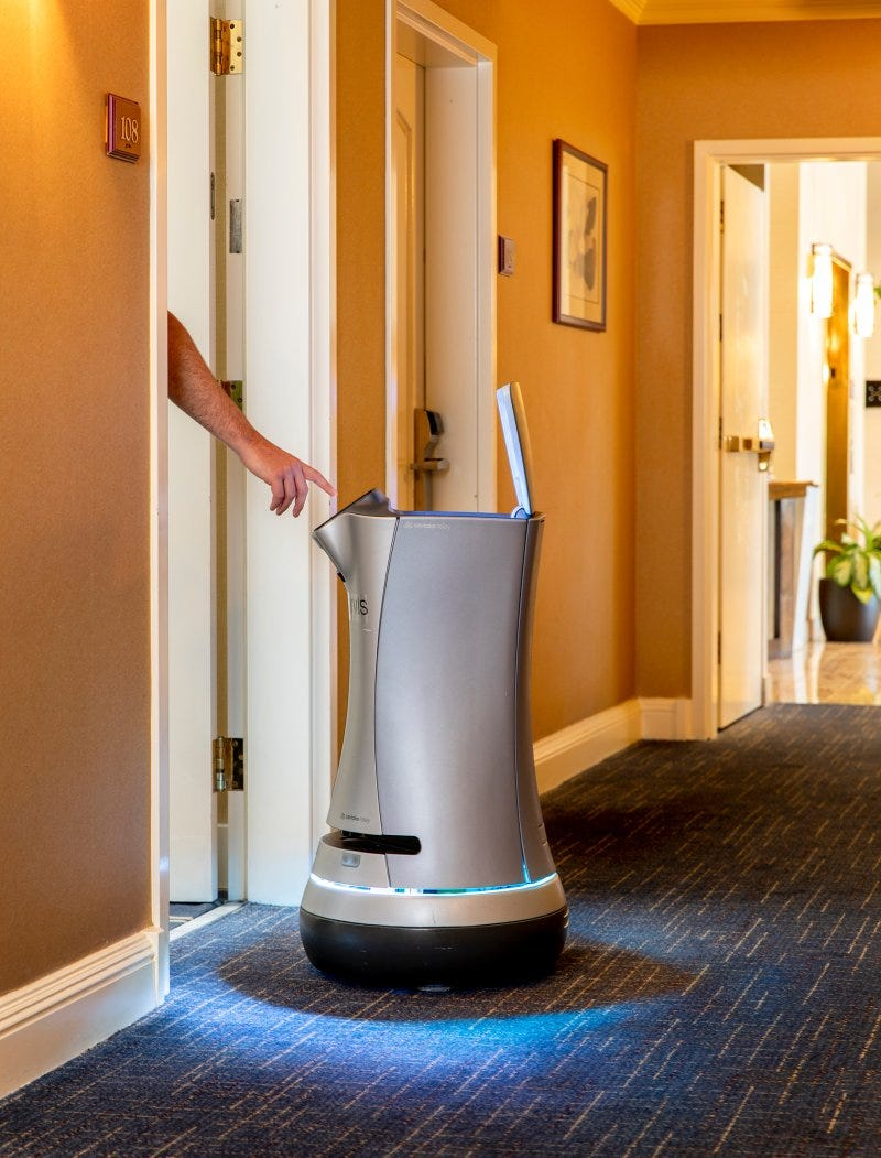Jarvis the robotic butler on duty at the Grand Hotel in Sunnyvale,Calif., on July30