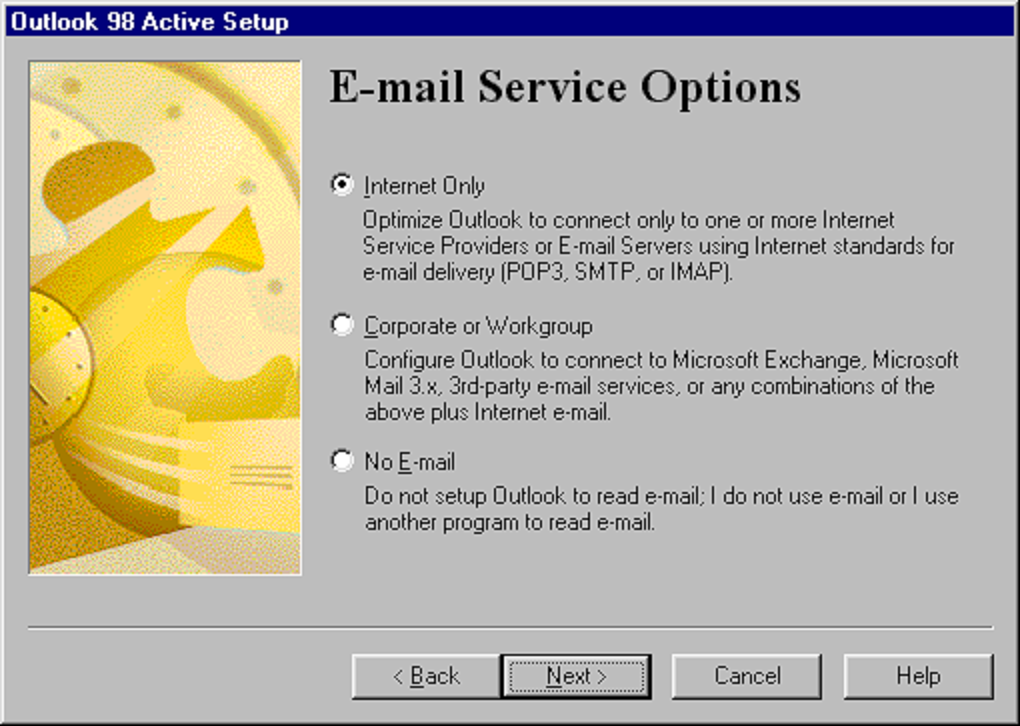 """Outlook 98 Active Serup """"Email Service Options"""""""