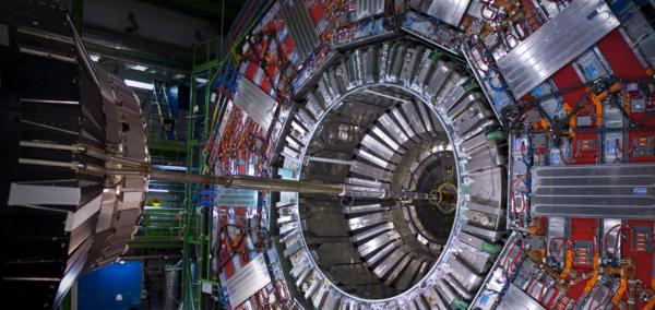 The CMS detector at the Large Hadron Collider takes billions of images of high-energy collisions every second to search for evidence of new particles. Graph neural networks expeditiously decide which of these data to keep for further analysis. Photo: CERN