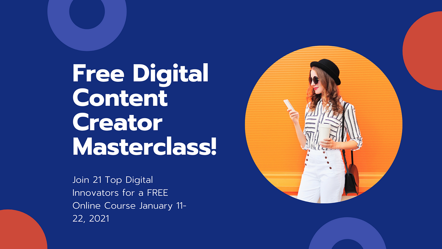 free digital content creator masterclass, free digital marketing class, story2021, story 2021 class