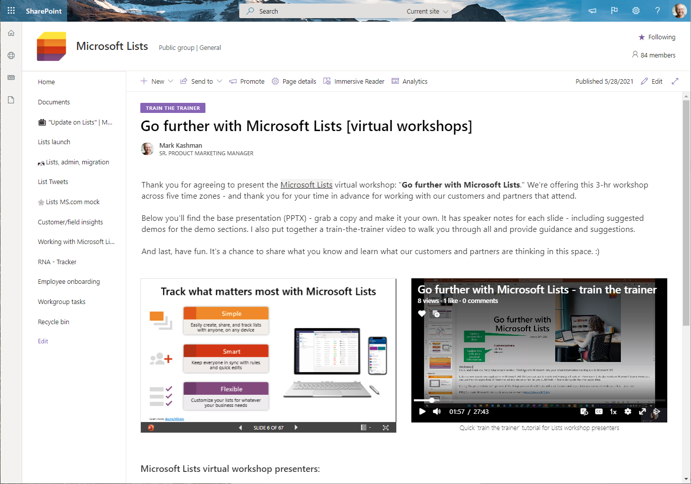 """A SharePoint page within a team site showing text, PowerPoint, and a Stream video in context of a """"train-the-trainer"""" scenario."""