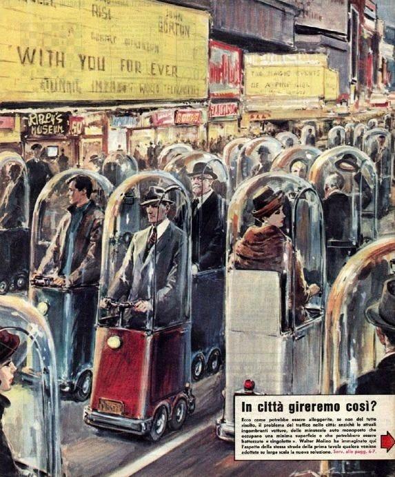 Ilustração de uma movimentada avenida de uma grande cidade que parece ser uma broadway, cheia de cartazes e placas de propagandas, com uma multidão de gente vestida com roupas chics antigas, chapéus, ternos e casacos de pele, andando em carros que são como cabines individuais motorizadas com uma redoma de vidro em volta