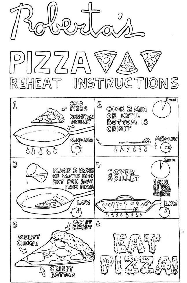 1. Put cold pizza in non-stick frying pan on medium-low heat. 2. Cook 2 minutes or until bottom is crispy. 3. Place 2 drops of water into hot pan as far away from pizza as possible. 4. Cover frying pan and steam for 1 minute to melt cheese. 5. Eat!
