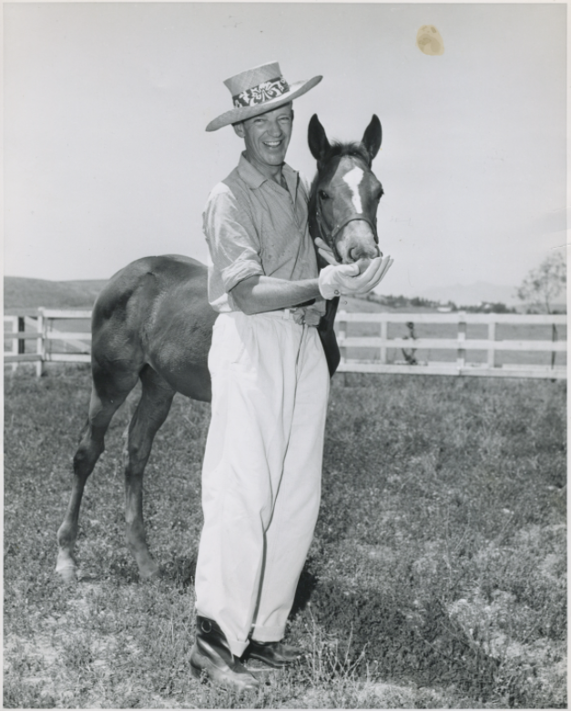 """""""When Fred Astaire isn't in front of the cameras he can quickly be found at his Chatsworth ranch where the offspring of his famed horse Triplicate romp and roam..."""".  Image credit: """"Talking Horse Sense"""" ( Schubertiade Music & Arts )."""
