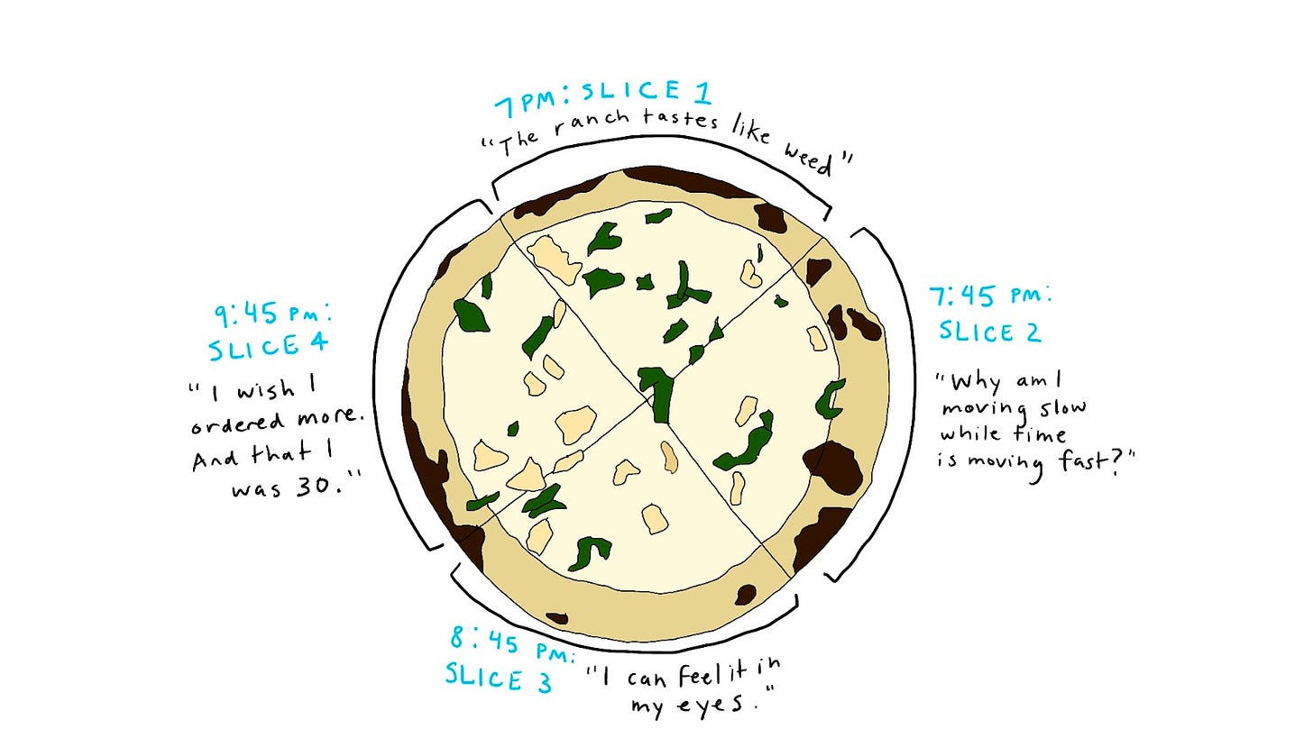 """Doodle of pizza that has parsley and chicken scattered on it. There are 4 slices, each accompanied by a different comment: - 7:00 PM: Slice 1– """"The ranch tastes like weed"""" - 7:45 PM: Slice 2– """"Why am I moving slow while time is moving fast?"""" - 8:45 PM: Slice 3– """"I can feel it in my eyes."""" - 9:45 PM: Slice 4– """"I wish I ordered more. And that I was 30."""""""