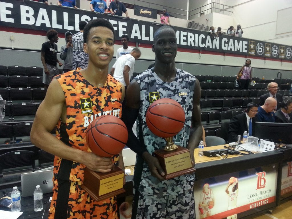Skal Labissiere (Kentucky) and Thon Maker (Undeclared) were named MVPs of the Ballislife game. (Photo taken by Darrel Wilson)