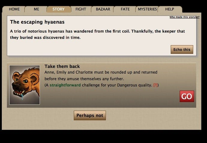 """Screenshot from Echo Bazaar showing a now-dated looking interface, showing a storylet called """"The escaping hyaenas."""""""