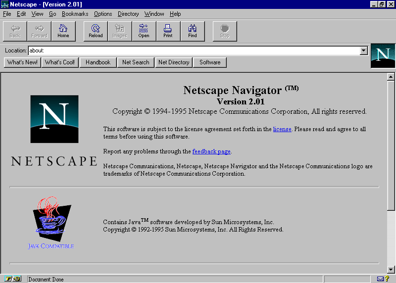 Netscape Navigator 2.0   Web Design Museum