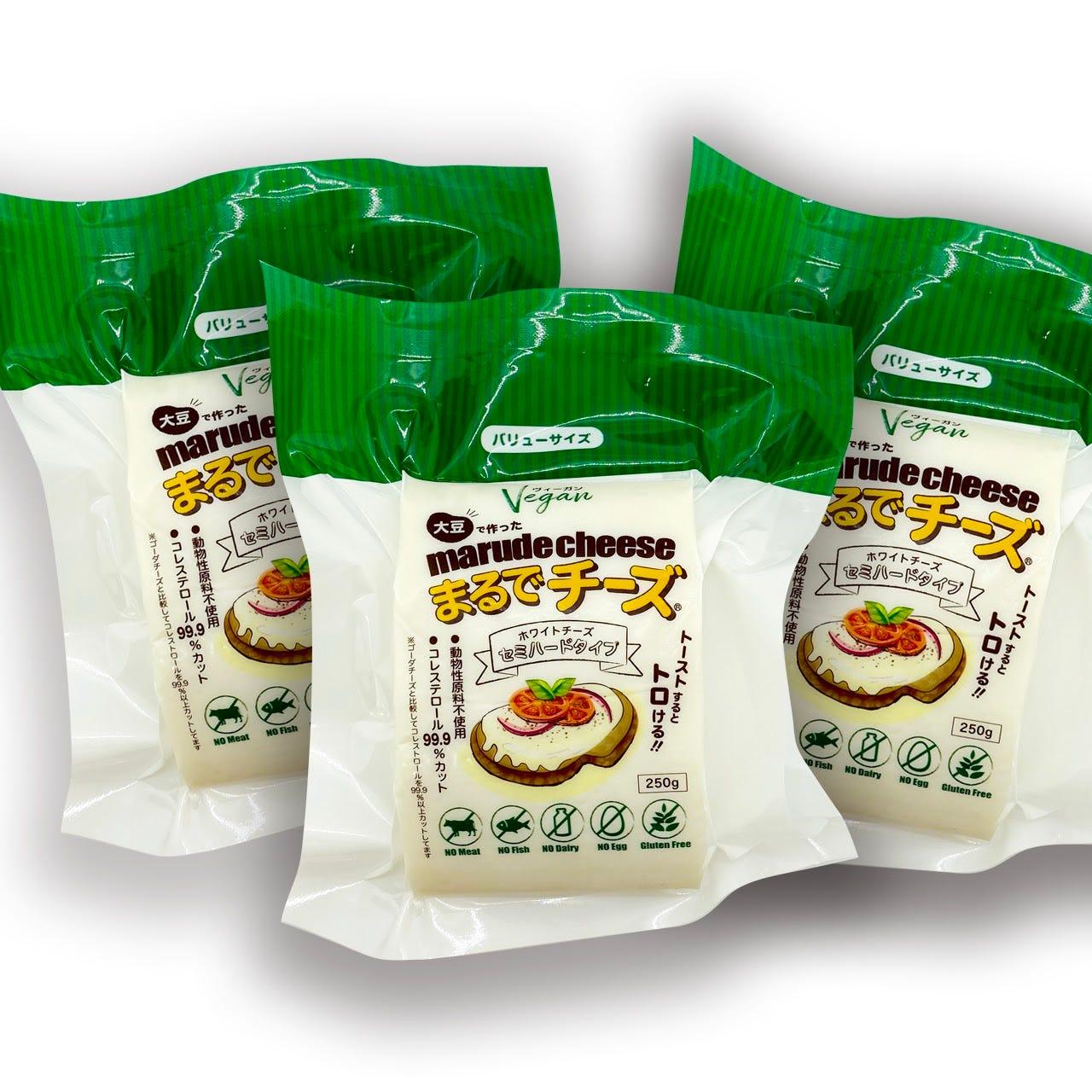 豆乳で作った「まるでチーズ」セミハードタイプ 250g X 3個セット Marude Cheese (Soy Cheese) / Semi-hard  Type 250g x 3 Block Set | Terra Foods