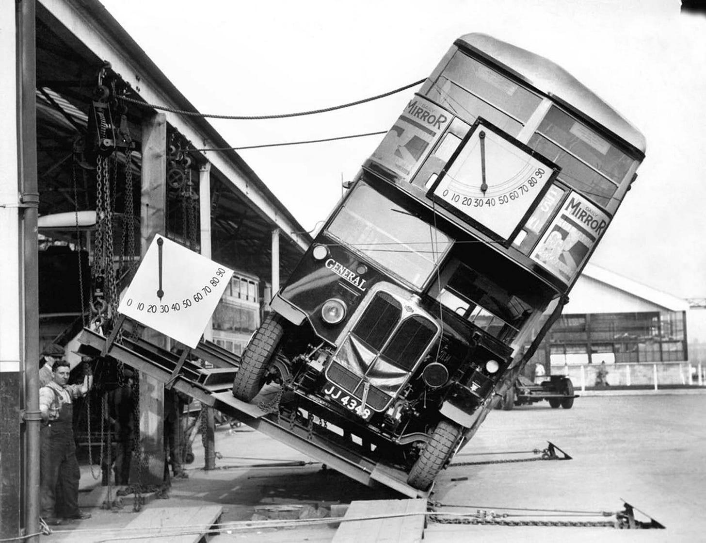 Double-decker bus tilt testing. April, 1933. London.