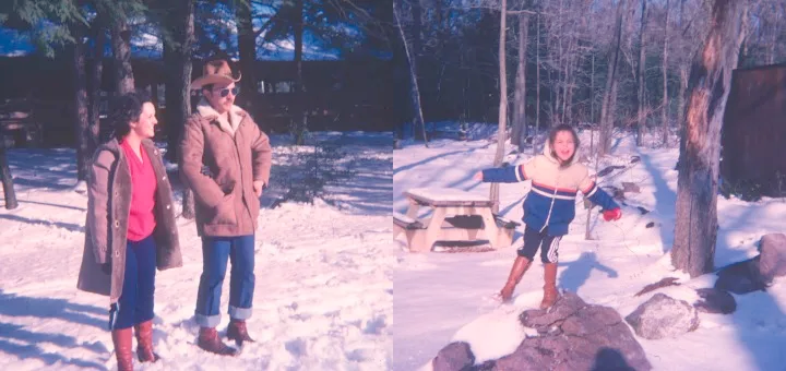 two photos from the author's childhood, both outdoors in the snow, one of her parents, and one of her in a swing