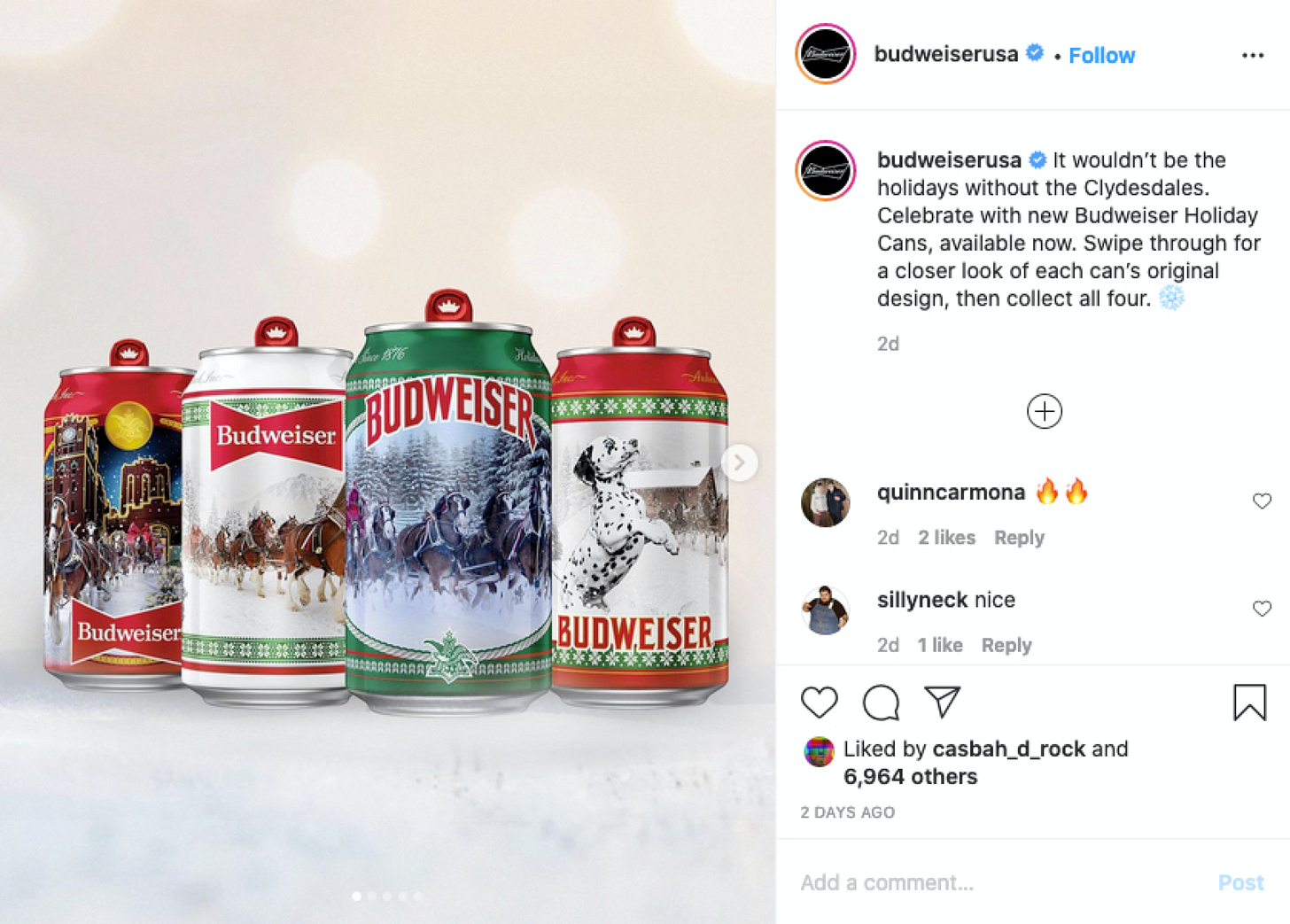 Budweiser limited-edition holiday cans