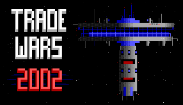 Trade Wars 2002 ANSI title screen, showing the title in block text and colorful text art of a space station.