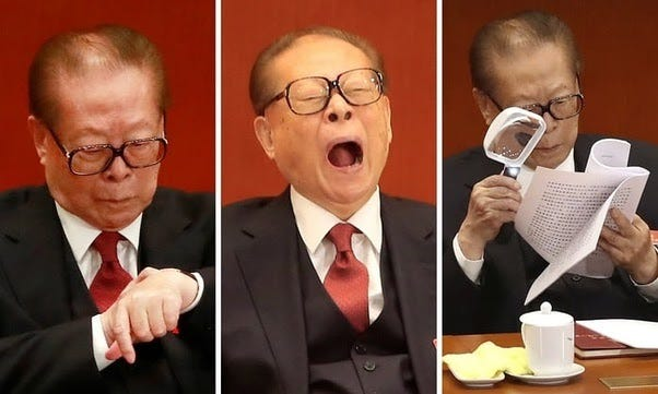 Three pictures of Jiang Zemin, looking at his watch, yawning, and examining some papers with a magnifying glass