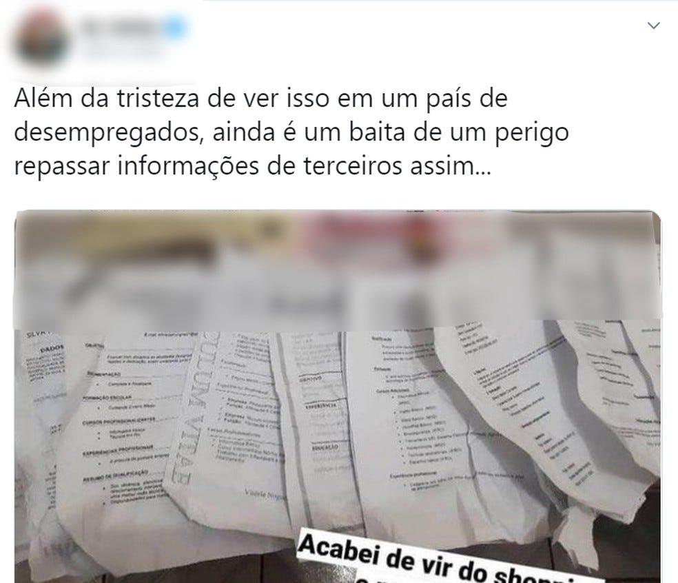 Internautas criticam loja de Porto Velho que embalou produtos com currículos.  — Foto: Reprodução/Twitter
