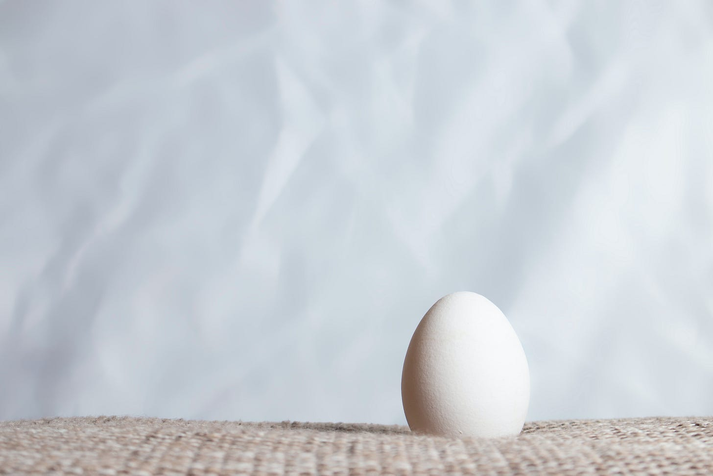 A single egg with a papery background