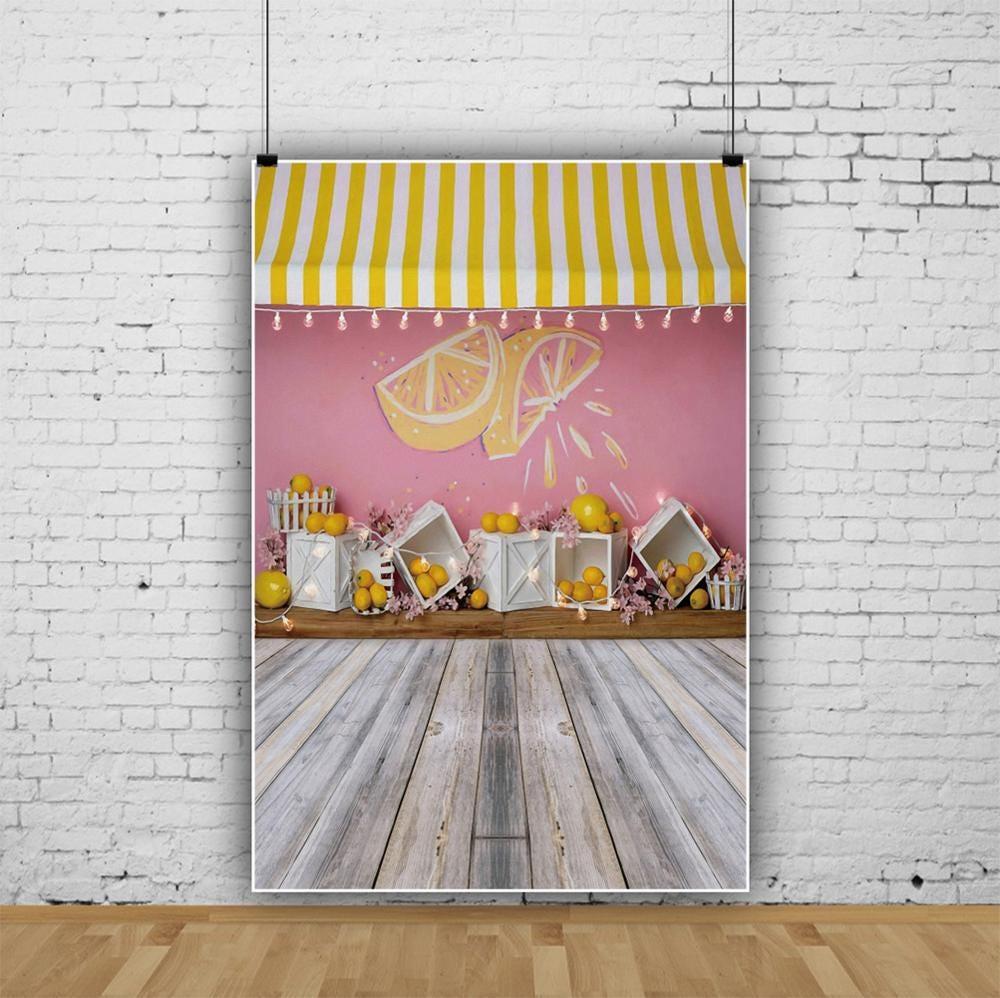 Yeele Lemon Shop Booth Baby Show Birthday Party Wooden Floor Portrait Photo Backgrounds Photography Backdrops Photo Studio Props