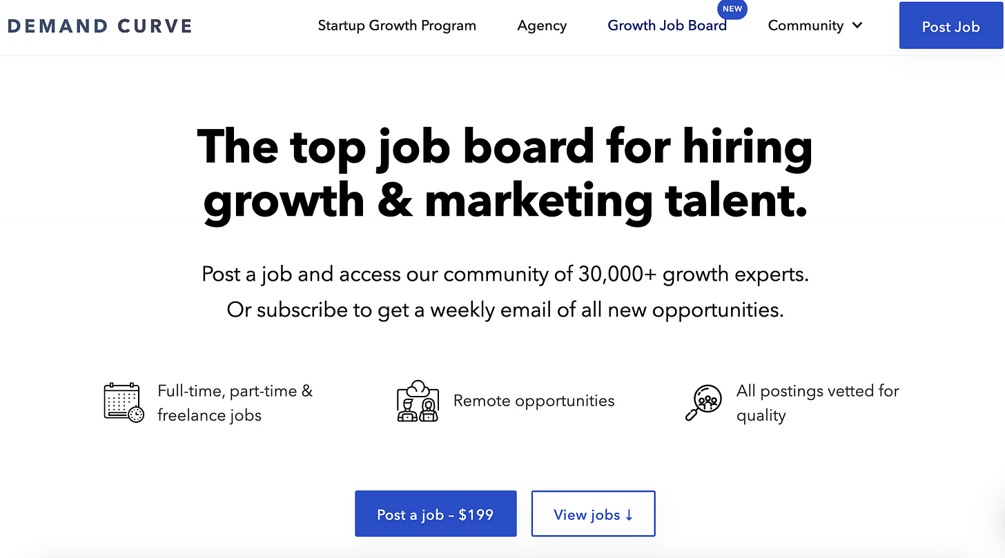 Growth Job Board – Demand Curve