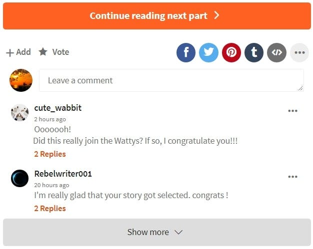 A series of comments on a Wattpad story