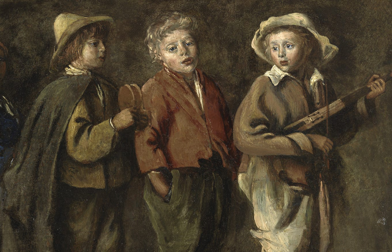 peasant children in brown clothes