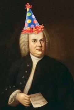 Johann Sebastian Bach in a birthday hat