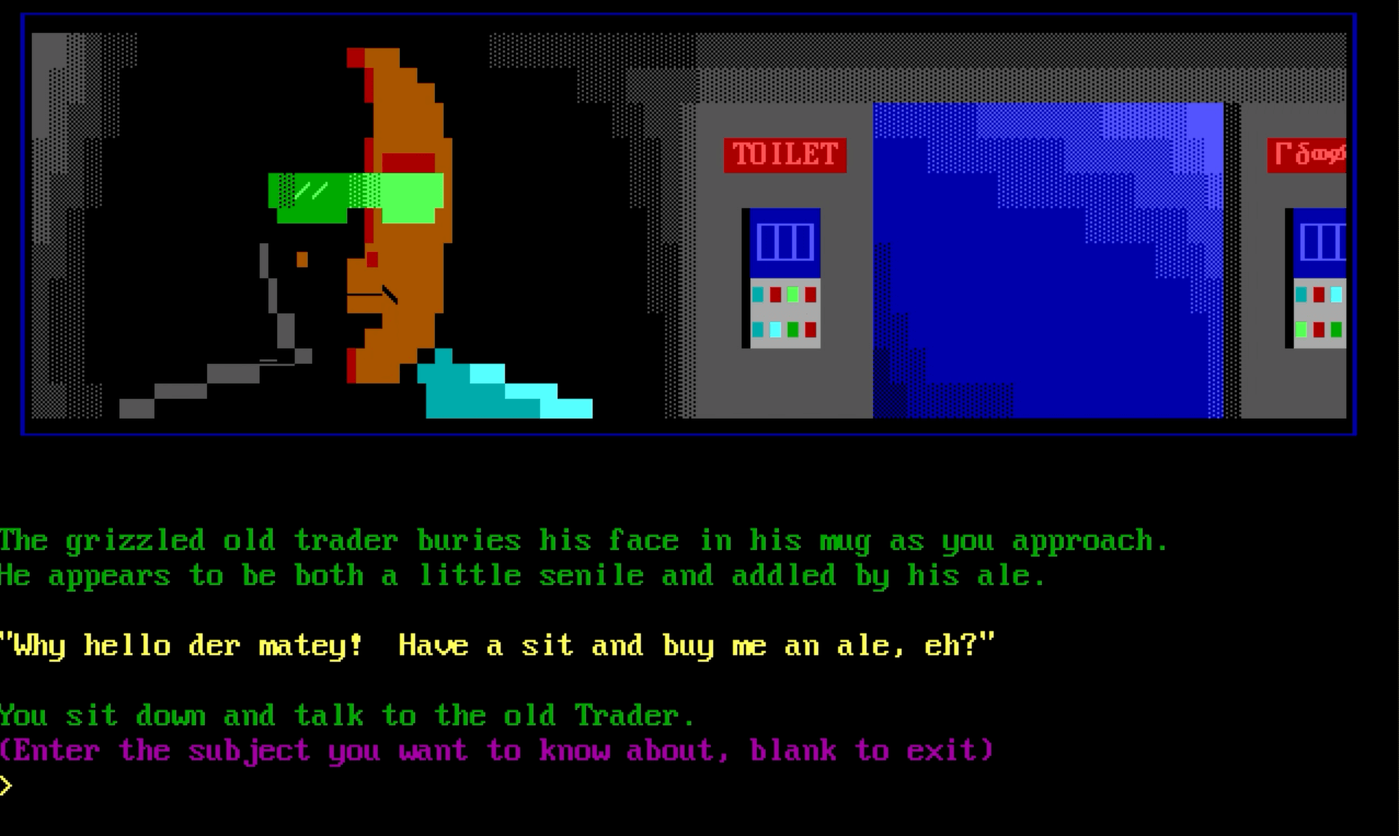 Screenshot from Trade Wars 2002, showing ANSI art of the grimy trader wearing green sunglasses next to a futurist entrance to a toilet.
