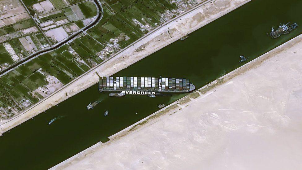 Suez Canal: Owner of cargo ship blocking waterway apologises - BBC News