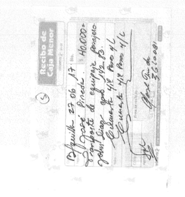 A photocopy of a A handwritten petty cash receipt for transport of a Barranquilla passenger's luggage on June 27, 2017 for 40,000 pesos including a case number