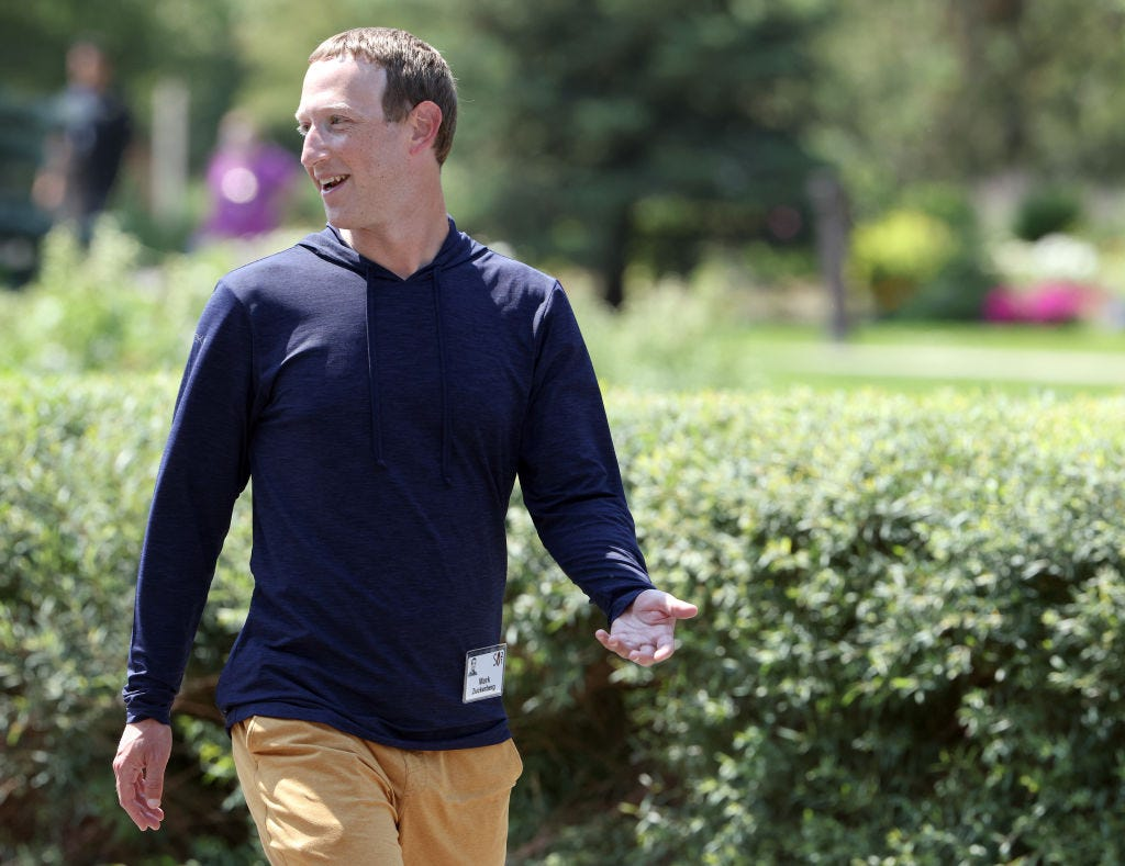 Facebook CEO Mark Zuckerberg attends the annual conference of business leaders in Sun Valley, Idaho this month. (Kevin Dietsch / Getty Images)