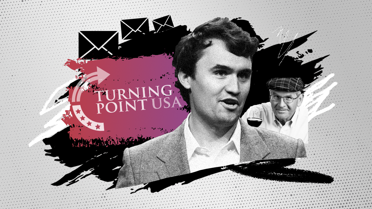Photo illustration with the Turning Point USA logo, an image of founder Charlie Kirk and an image of advisor Rip McIntosh.