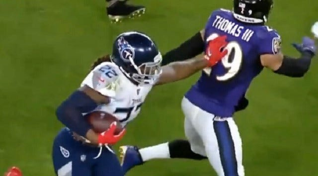 Ravens' Earl Thomas Gets Mocked For Getting Stiff-Armed By Derrick Henry  Days After He Trashed The Pats Defense For Not Tackling Him – BroBible
