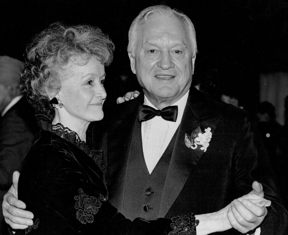 Ermalee and Walter Hickel hit the dance floor in January of 1991. (Anchorage Times Archive)