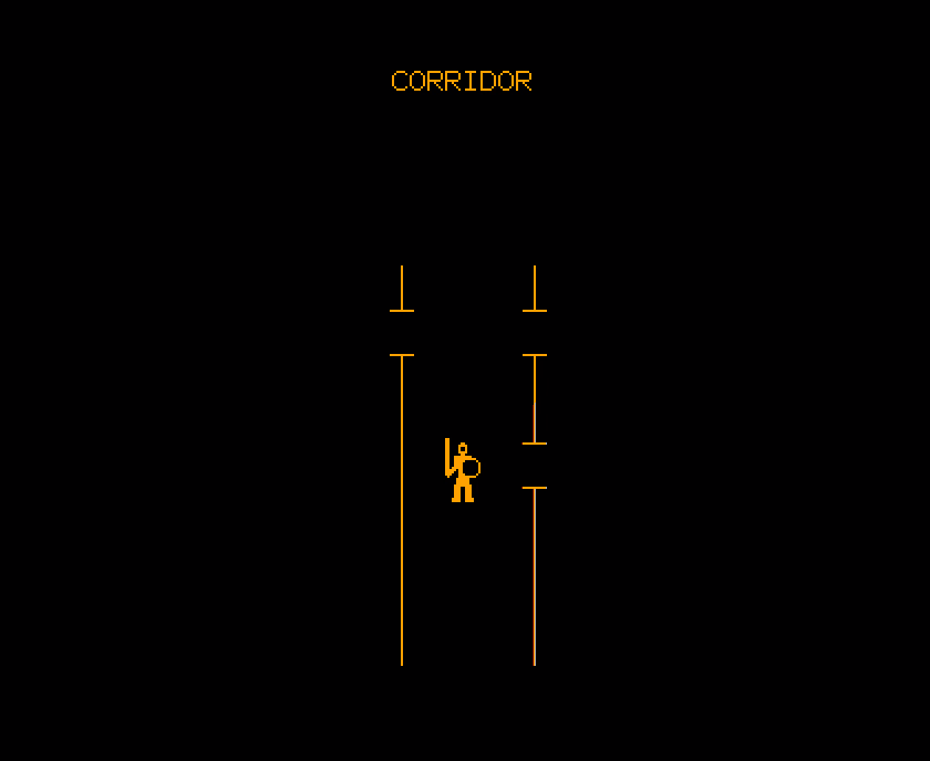 "A screenshot from pedit5, showing an icon of a warrior in a hallway made from orange lines, with the text ""CORRIDOR"" above."