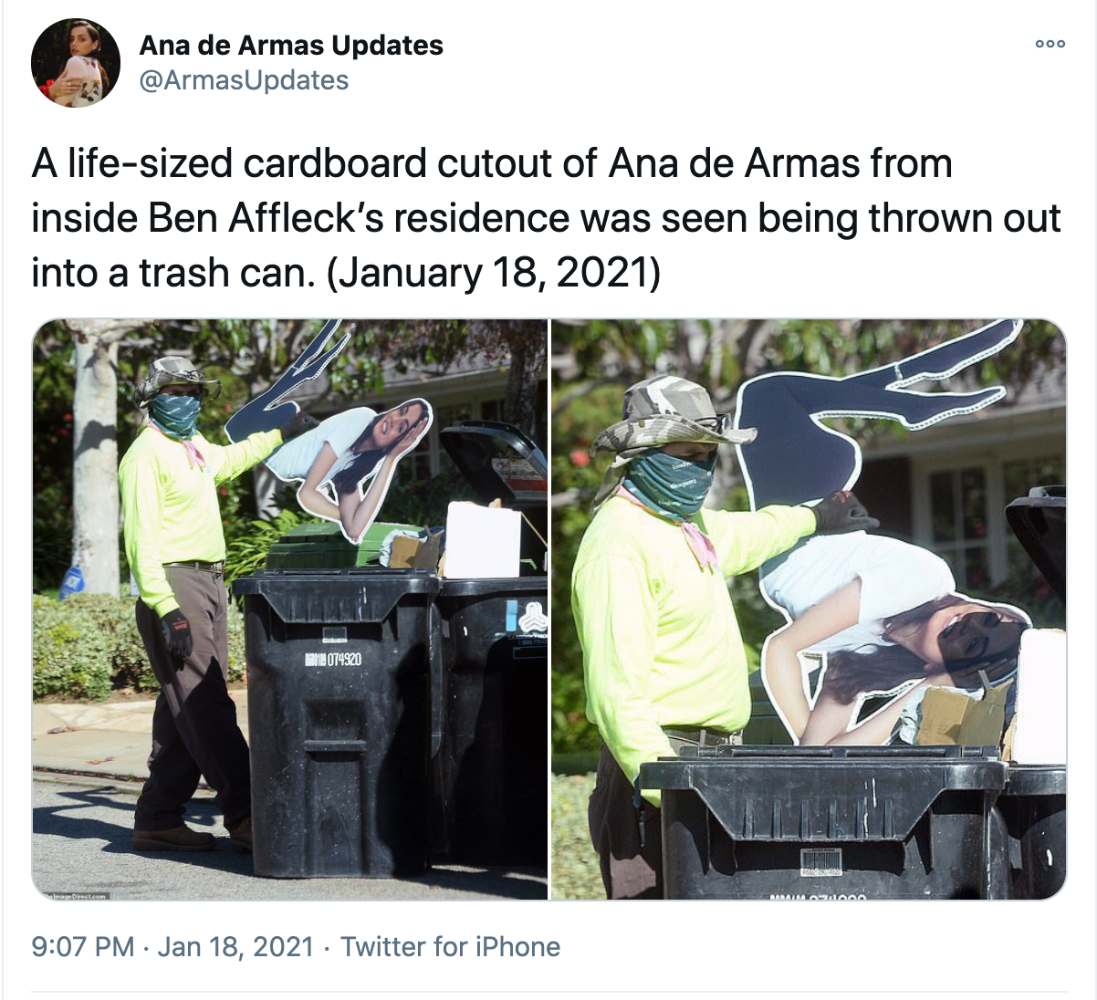 Pictures of SOMEONE (Casey Affleck???) throwing away a life size cutout of Ana de Armas