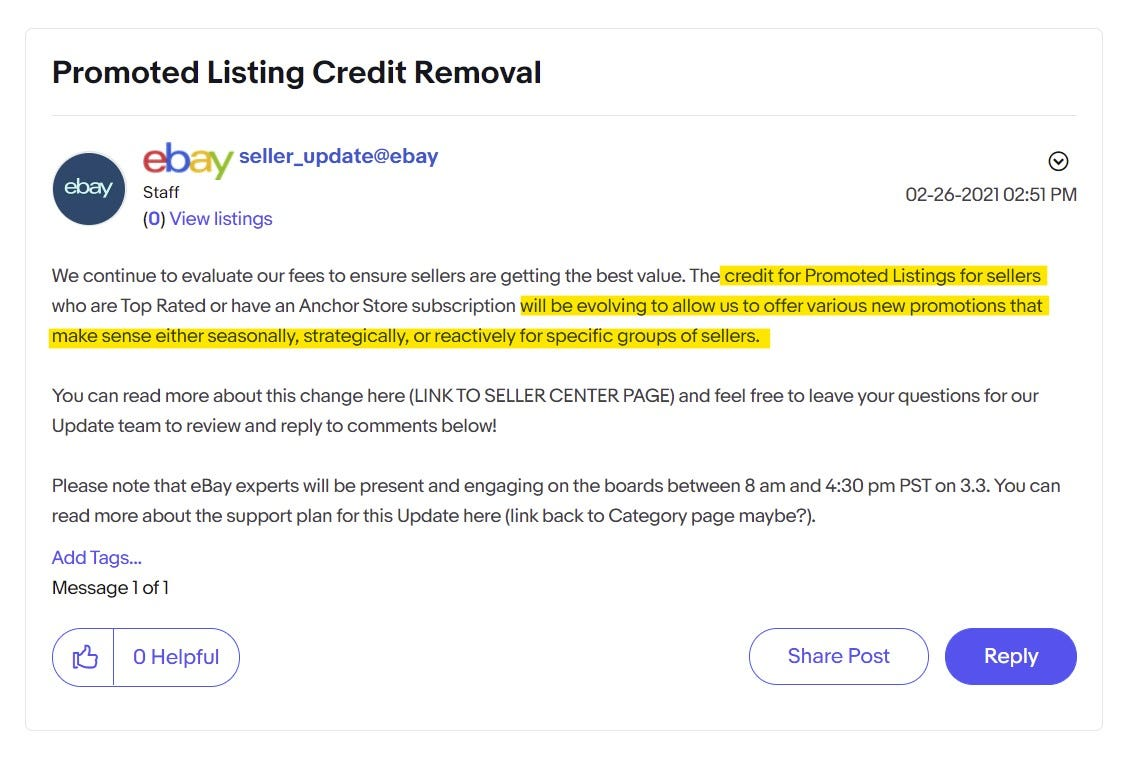 Promoted Listings Credit Removal Draft