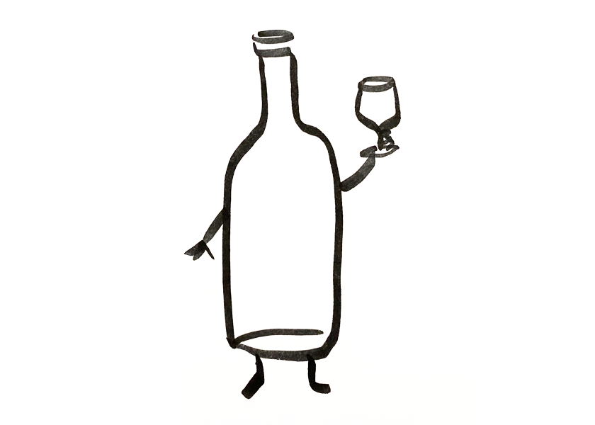 An anthropomorphic wine bottle drinking from a wine glass