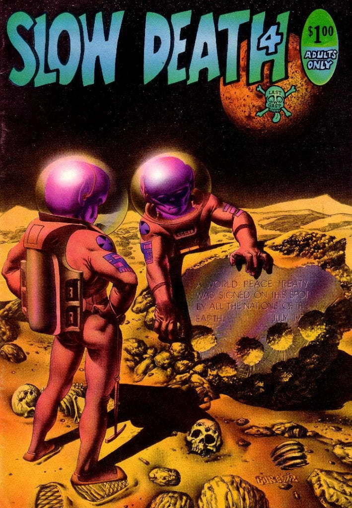 Cover art to Slow Death #4 by Richard Corben, featuring aliens on a moon landscape.