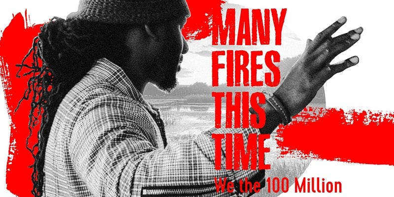 The pomotional event poster for 'Many Fires This Time,' featuring the poet A Cribe Called Quess against a white background with red paint smeared around, and the movie title in front.
