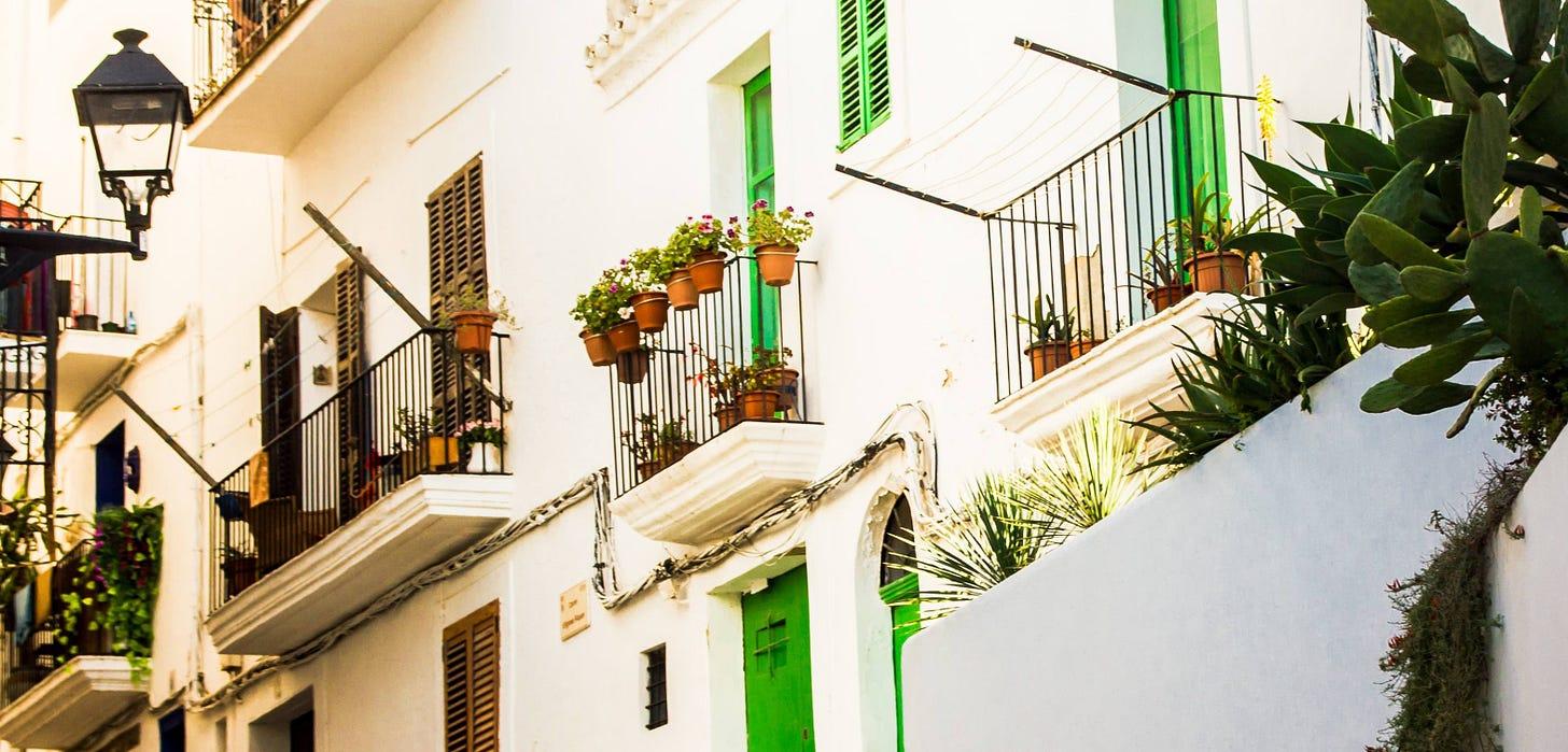 Balconies in Ibiza, Spain