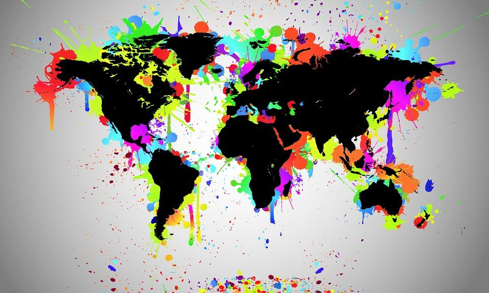 World, Map, Black, Splash