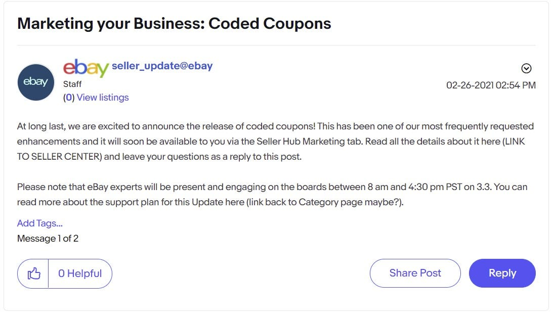 eBay Spring Seller Update Coded Coupons