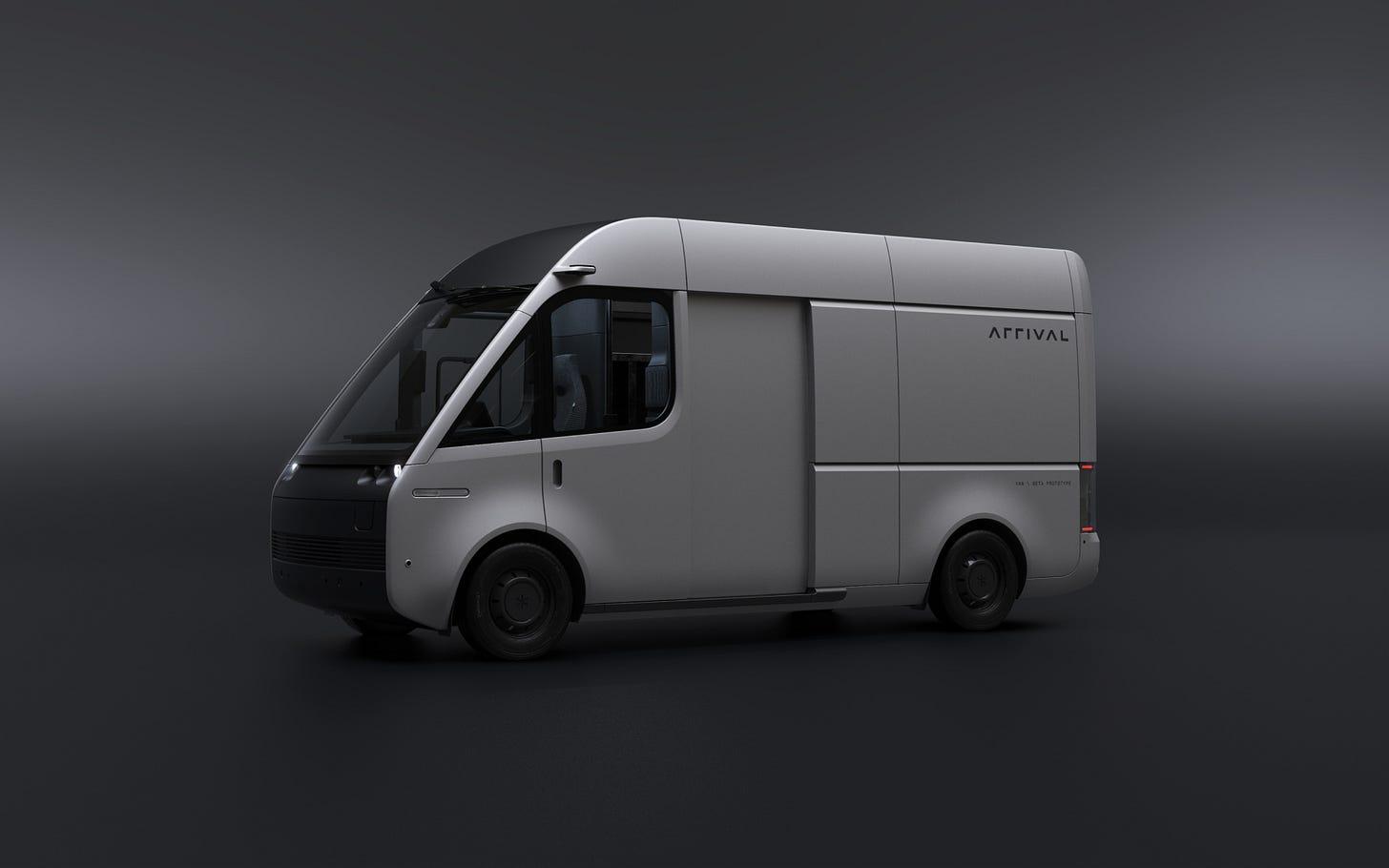 Grey Arrival Van Side View with Nearside Door Open, on a Dark Background