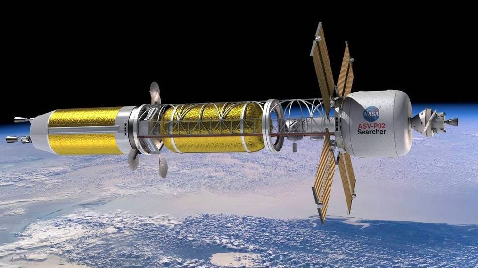 Illustration of a conceptual spacecraft enabled by nuclear thermal propulsion.
